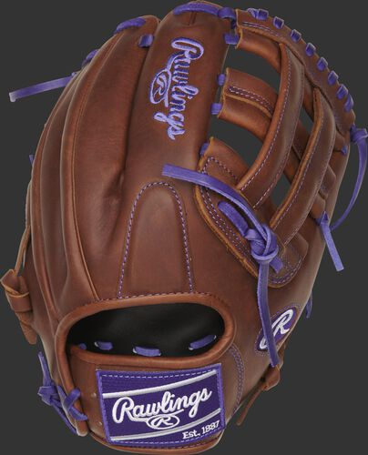 PRO206-6TIP 12-Inch Heart of the Hide ColorSync H-web infield glove with a timberglaze back and purple ColorSync patch