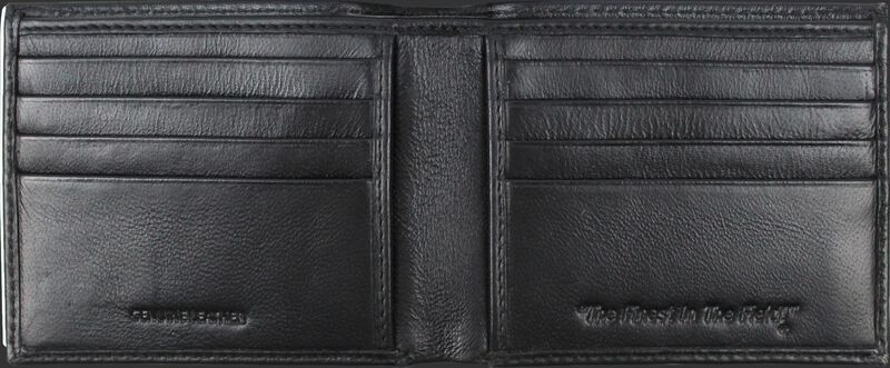 Inside of a black MW485-001 Rawlings bi-fold wallet with multiple credit card slots on each side