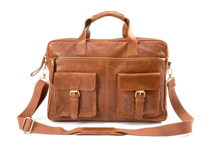 A tan Rawlings rugged briefcase with 2 side compartments and a tan shoulder strap - SKU: V609-202