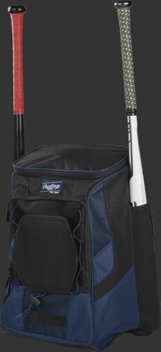 Front left of a navy/black R600 Rawlings players equipment backpack with two bats