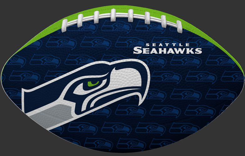 Navy blue side of a NFL Seattle Seahawks Gridiron football with the team logo SKU #09501085121