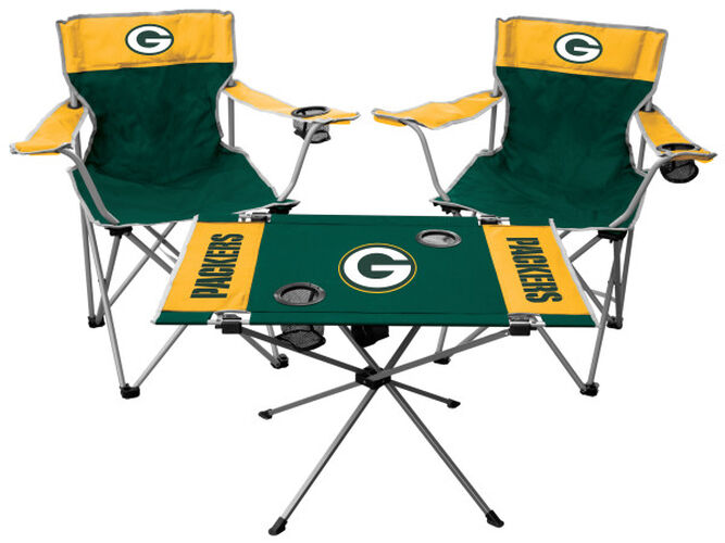Front of Rawlings Green and Yellow NFL Green Bay Packers 3-Piece Tailgate Kit With Two Kickoff Chairs, An Endzone Table, And A Transport Bag With Team Logo SKU #01041068511