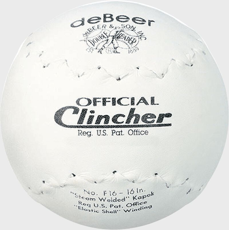 A white W601457 deBEER 16-inch clincher softball