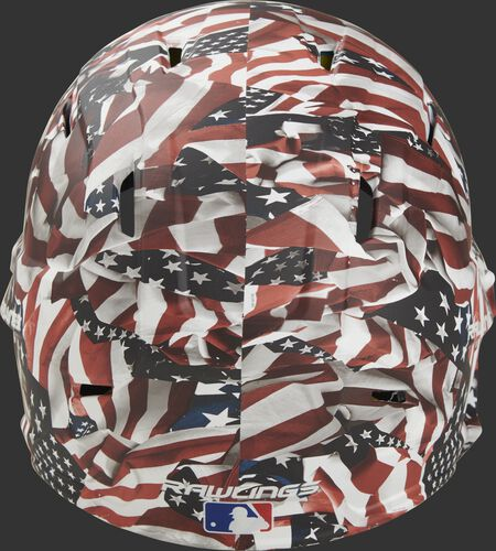 Back of a MACHEXTL-USA Rawlings Mach EXT helmet with a USA hydro dipped design