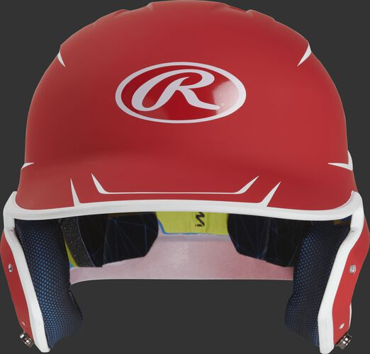 Front of a matte scarlet/white MACH senior size batting helmet