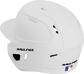 Back left view of a matte white MACHEXTL MACH series batting helmet with air vents image number null