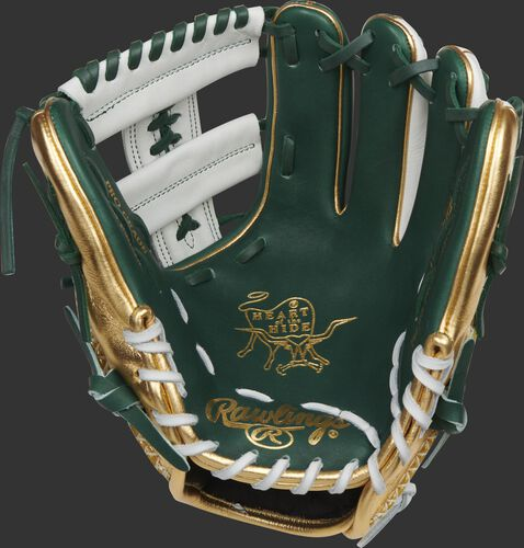Green palm of a Rawlings Heart of the Hide PRO-LUCKYV glove with gold stamping and white/green laces - SKU: RSGPRO-LUCKYV