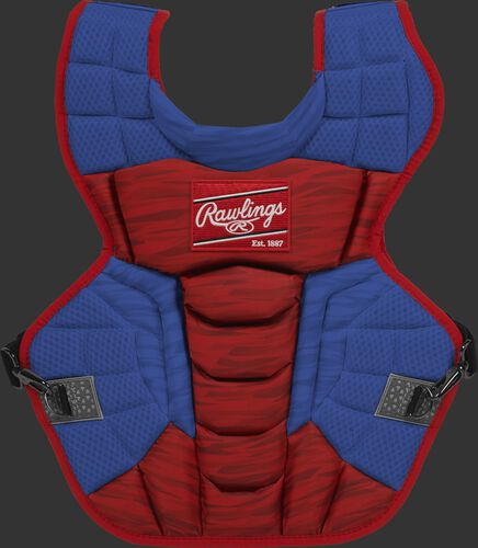 A scarlet/royal CPV2N Rawlings Velo 2.0 intermediate chest protector with a striped pattern