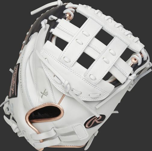 Back of a white Liberty Advanced 33-Inch catcher's mitt with a Pull Strap back - SKU: RLACM33RG