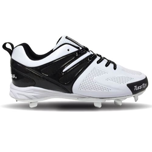 Rawlings White and Black Men's Conquer Low Metal Baseball Cleats SKU #4321WB-MM6