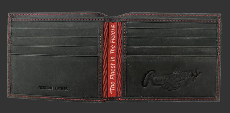 Inside of a black bi-fold high grade debossed wallet with multiple credit card slots - SKU: RPW004-001