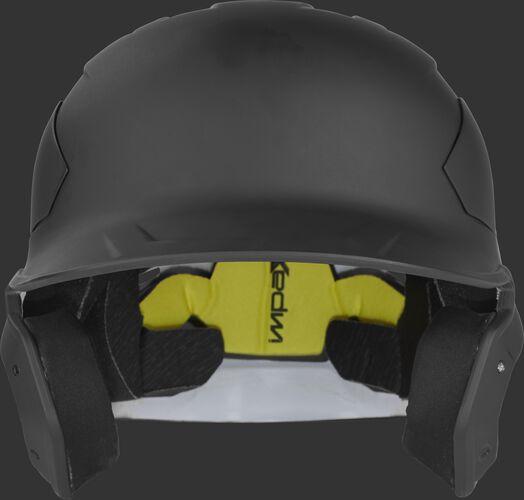 Front of a matte black CAR07A Rawlings MACH Carbon batting helmet