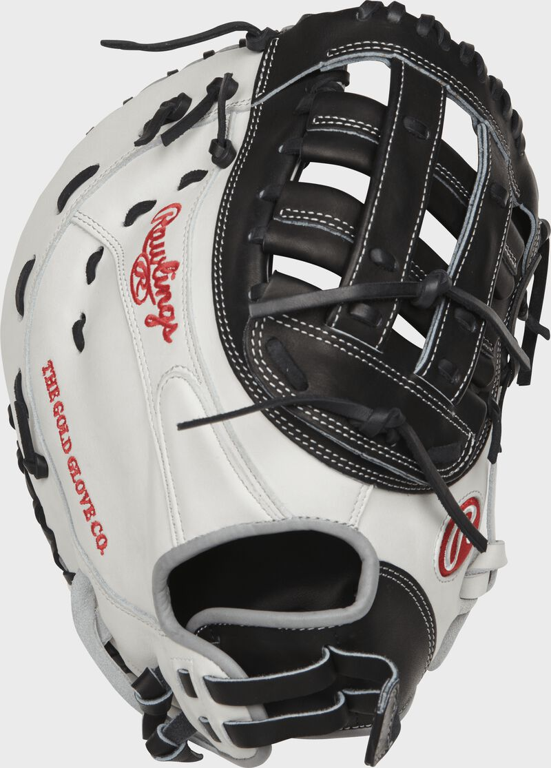PROFM19SB-17BW 13-inch Heart of the Hide softball first base mitt with a white back and Pull-Strap back design