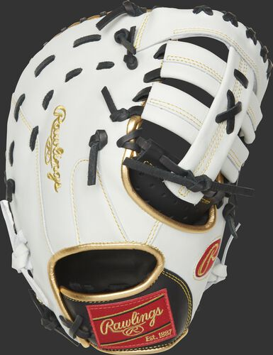 ECFBM-10BW 12-inch Encore first base mitt with a white back and gold binding/welting