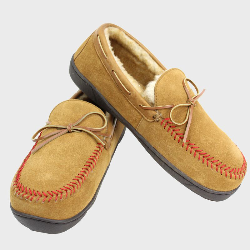 Two RF50004-204 baseball stitch men's moccasins with cow suede and faux fur lining