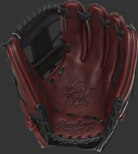 Burgundy palm of a Rawlings Heart of the Hide infield glove with a black web and black laces - SKU: PRO315-2JPPRO
