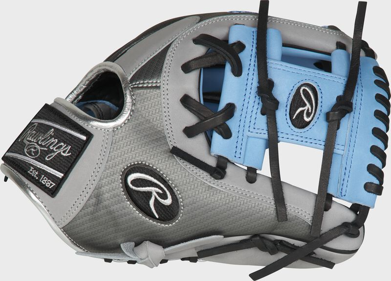Thumb of a grey PRO204-2CBH Heart of the Hide ColorSync Hyper Shell infield glove with a columbia blue I-web