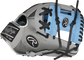 Thumb of a grey PRO204-2CBH Heart of the Hide ColorSync Hyper Shell infield glove with a columbia blue I-web image number null