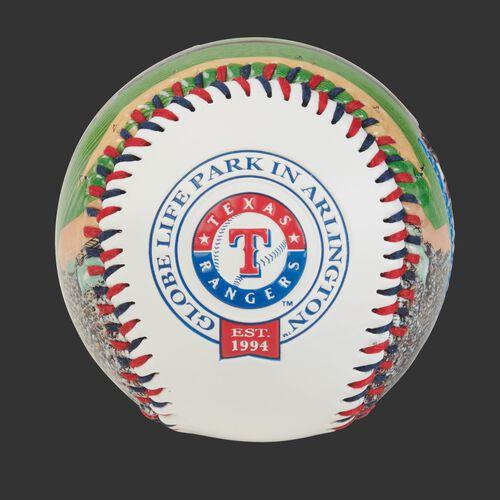 Texas Rangers team logo on a MLB stadium baseball