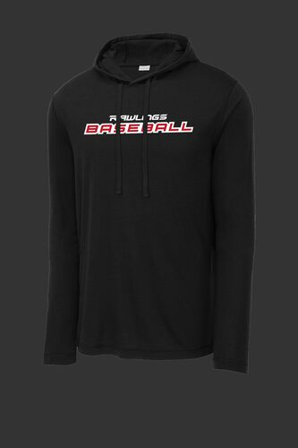 A black Rawlings baseball lightweight performance hoodie - SKU: RSGLH-B