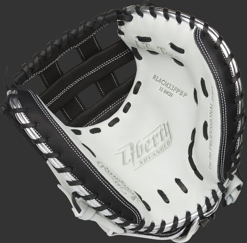 RLACM33FPBP Rawlings Liberty Advanced Color Series catcher's mitt with a white palm, black web and black laces