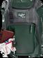 Wallet, keys, and batting gloves in the front valuables pocket of a dark green Franchise baseball bag - SKU: FRANBP-DG image number null