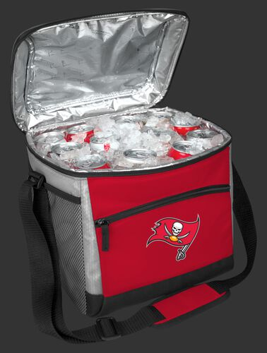 An open Tampa Bay Buccaneers 24 can cooler filled with ice and drinks - SKU: 10211086111