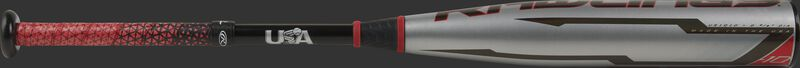 Silver barrel of a USA -10 Quatro Pro youth bat with red/black Lizard Skins grip - SKU: US1Q10