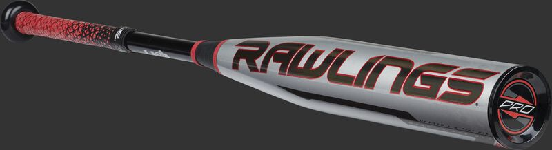 Angled view of a silver/black/red -10 Quatro Pro bat with a black Rawlings logo on the barrel - SKU: US1Q10