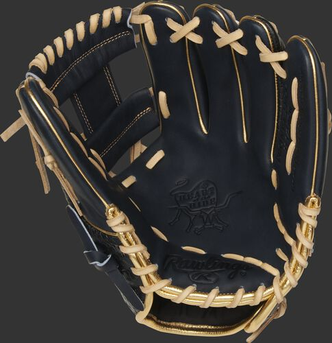 Navy palm of a Rawlings HOH exclusive glove with a navy web and camel laces - SKU: PRONP4-2NCC