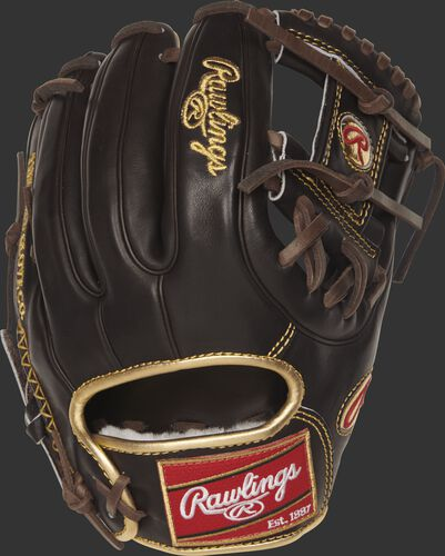 RGG314-2MO 11.5-inch Gold Glove series infield glove with a mocha back, gold binding and mocha double-welting
