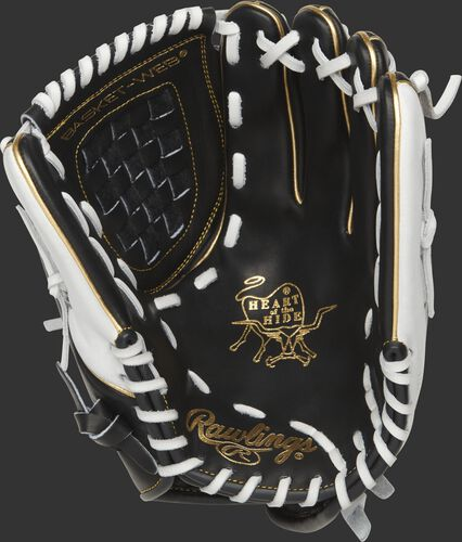 PRO120SB-3BW Rawlings 12-inch fastpitch glove with a black palm and white laces