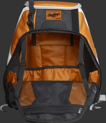 An open R500 Rawlings Players equipment backpack with orange interior