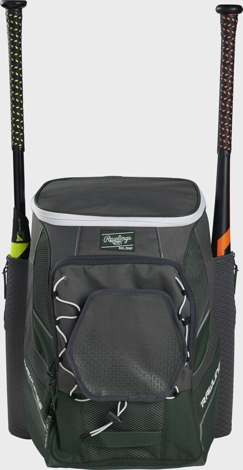 Front of a dark green Rawlings Impulse bag with a dark green Rawlings patch and two bats in the sides - SKU: IMPLSE-DG