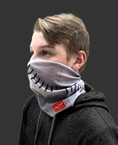 Side view of a kid wearing a gray youth multi-functional head and face gear cover with it covering his mouth/nose - SKU: YRC40001-020