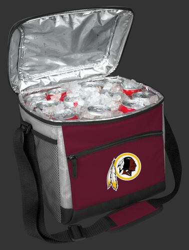 An open Washington Football Team 24 can cooler filled with ice and drinks - SKU: 10211087111