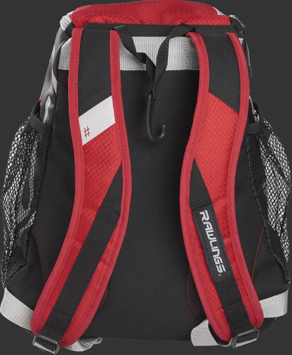 Back of a scarlet R400 Rawlings youth backpack with scarlet shoulder straps