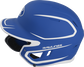 Left side of a MACHEXTR junior Rawlings batting helmet with a two-tone matte royal/white shell image number null