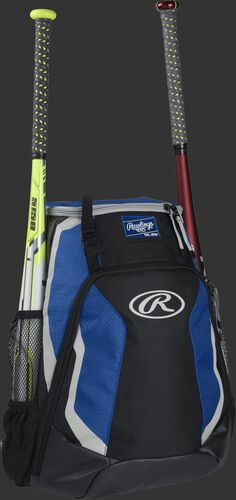 Right side of a black/royal R500 Rawlings baseball backpack with a white bat in the bat sleeve