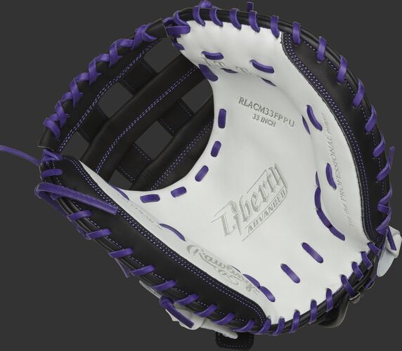 RLACM33FPPU Rawlings Liberty Advanced Color Series catcher's mitt with a white palm, black web and purple laces