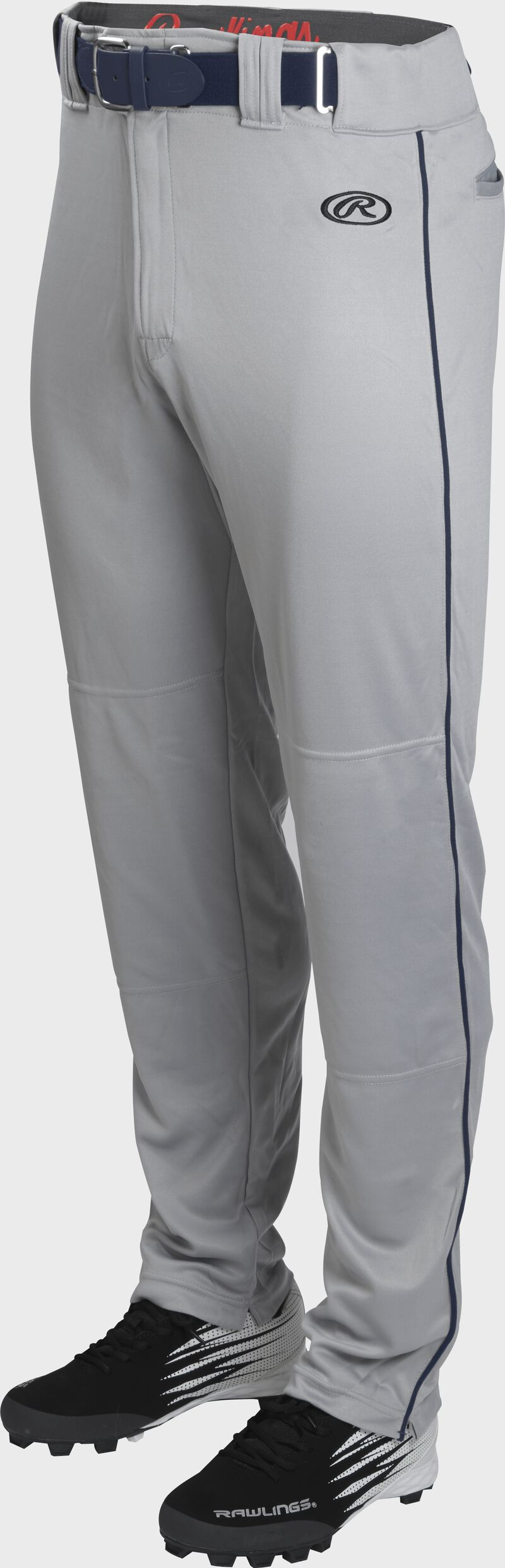 Front of Rawlings Blue Gray/Navy Adult Launch Piped Semi-Relaxed Baseball Pant - SKU #LNCHSRP-BG/N