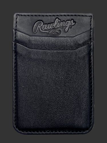A black Rawlings leather phone card holder with 2 card slots - SKU: R090007-001