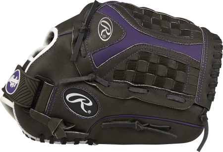 Thumb view of a black ST1250FPUR Storm 12.5-inch outfield glove with a black/purple Funnel web