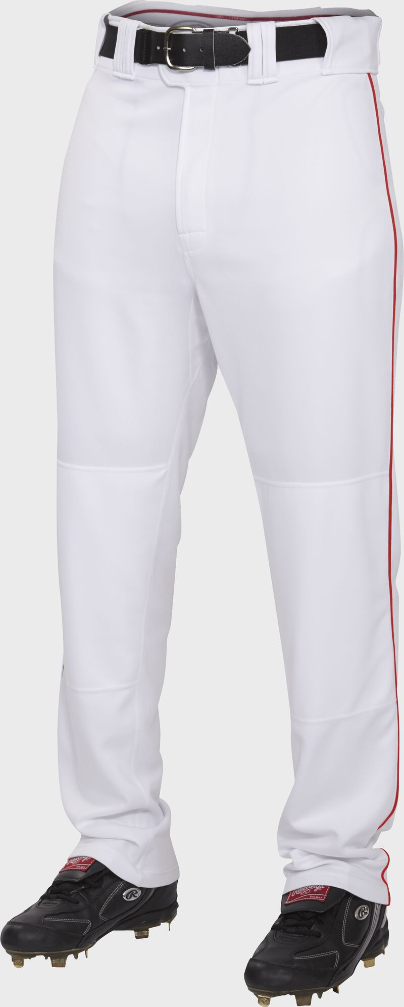 Front of Rawlings White/Scarlet Adult Semi-Relaxed Piped Pant - SKU #PRO150P-W/S