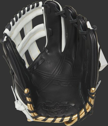 EC1225-6BW Rawlings Encore outfield glove with a black palm and black laces