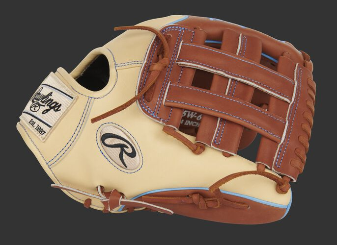 Camel thumb of an exclusive Pro Preferred Wing Tip infield glove with a bruciato H-web - SKU: PROS205W-6BRC