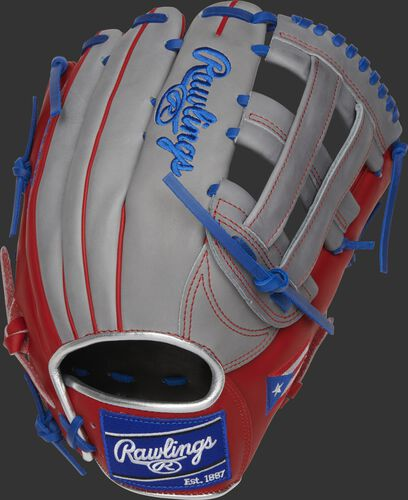 PRO3039-6PR Heart of the Hide 12.75-Inch Puerto Rico outfield glove with a grey back and royal Rawlings patch