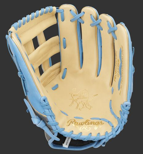 Camel palm of a Heart of the Hide H-web outfield glove with camel web and columbia blue laces - SKU: PROBH3-6CCBG