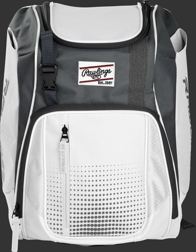 Front of a white Franchise baseball backpack with gray accents and a white Rawlings patch - SKU: FRANBP-W