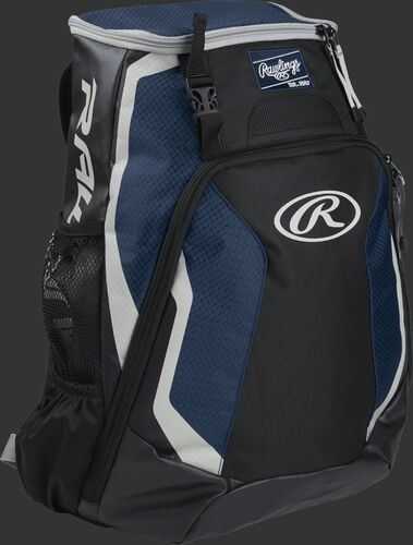 Right side of a black/navy R500 Rawlings Players equipment backpack with white trim